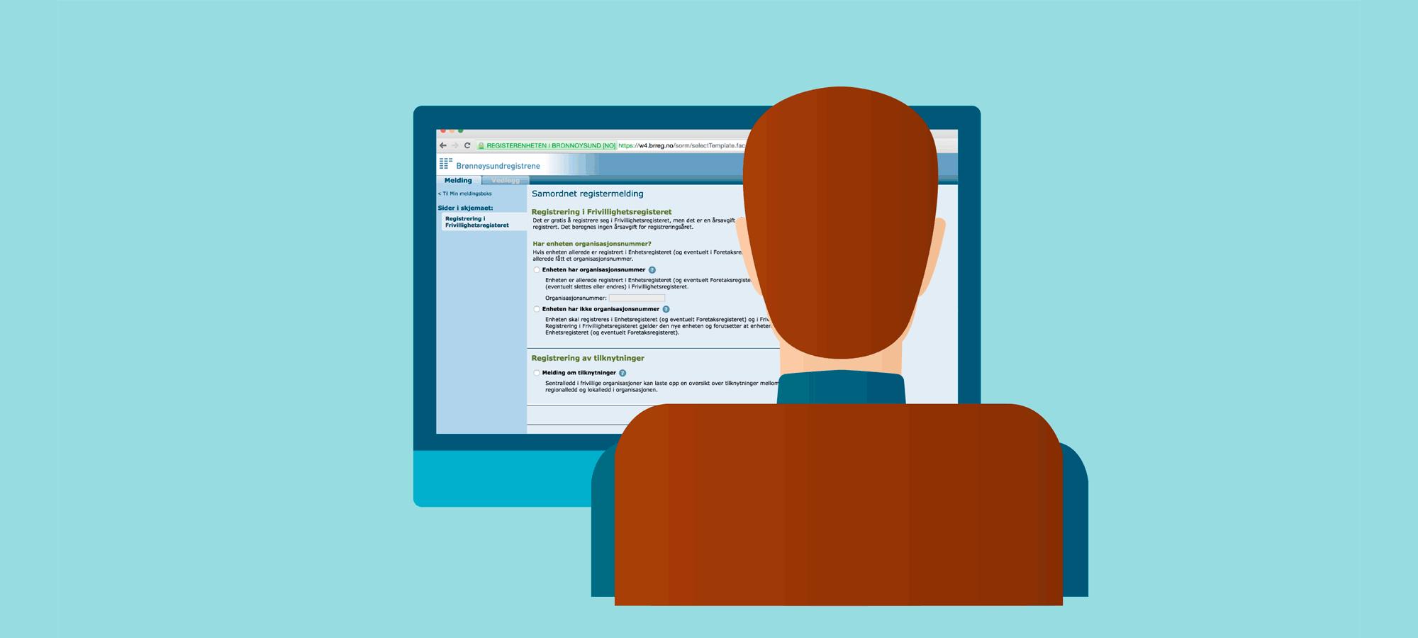 Registrere MVA-illustrasjon med mann foran PC
