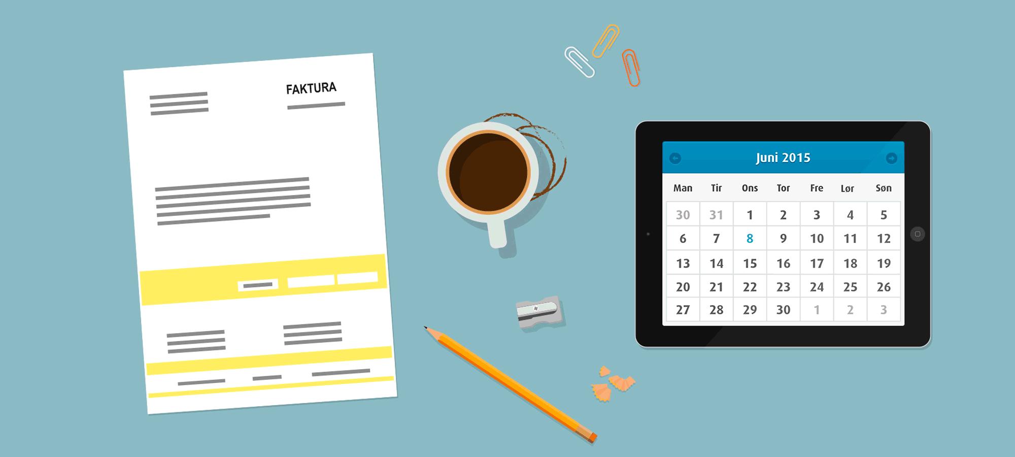 Illustrasjon med kalender og nettbrett